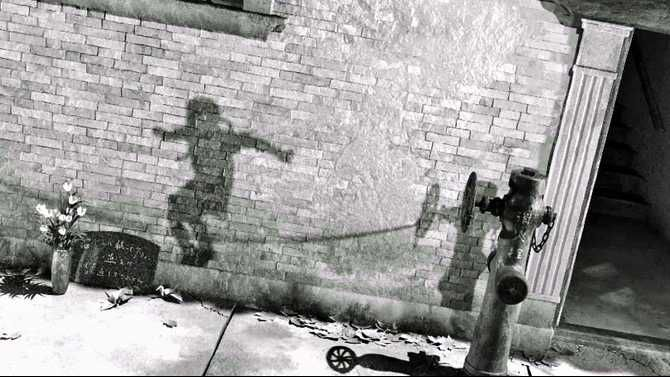 Flash burn shadows etched on the wall in Hiroshima after the atomic bomb.