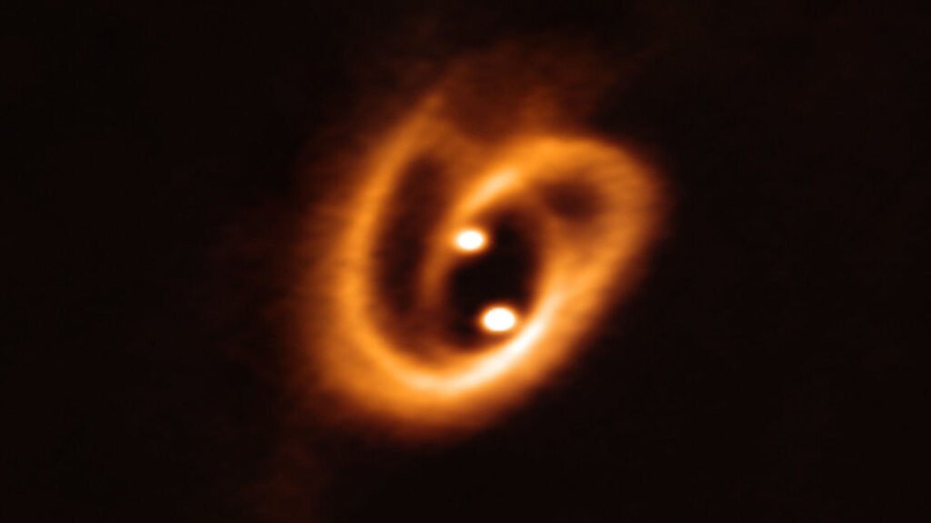 A binary star system, related to the sort which led to the first experimental verification of gravitational waves.