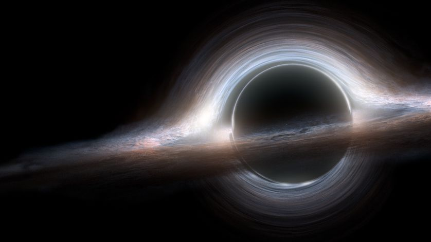 An artist's visualization of a black hole, complete with an accretion disk.